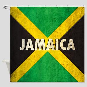 Jamaica Grunge Flag Shower Curtain