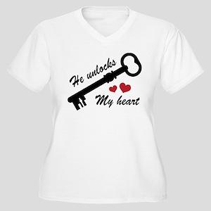 He Unlocks My Heart Women's Plus Size V-Neck T-Shi
