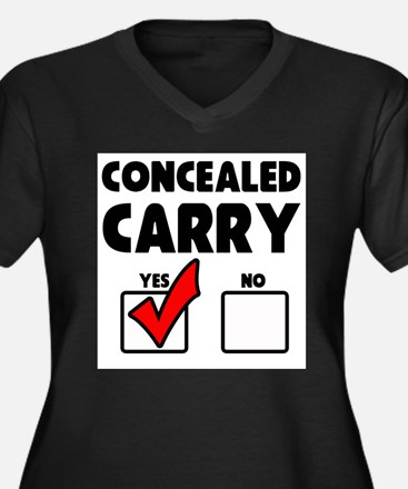 Concealed Carry YES Women's Plus Size V-Neck Dark