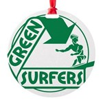 Green Surfers 10 Round Ornament