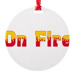 On Fire Round Ornament