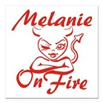 Melanie On Fire Square Car Magnet 3
