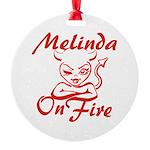 Melinda On Fire Round Ornament