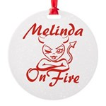 Melinda On Fire Round Ornament