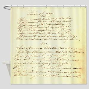 Old Script Love Poem Shower Curtain
