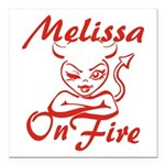Melissa On Fire Square Car Magnet 3