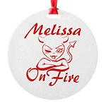 Melissa On Fire Round Ornament