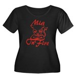 Mia On Fire Women's Plus Size Scoop Neck Dark T-Sh