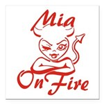 Mia On Fire Square Car Magnet 3