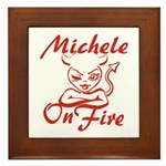Michele On Fire Framed Tile