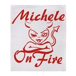Michele On Fire Throw Blanket