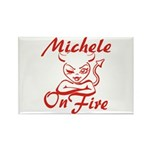 Michele On Fire Rectangle Magnet