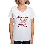Michelle On Fire Women's V-Neck T-Shirt