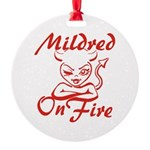 Mildred On Fire Round Ornament