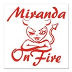 Miranda On Fire Square Car Magnet 3