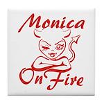 Monica On Fire Tile Coaster