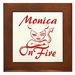 Monica On Fire Framed Tile