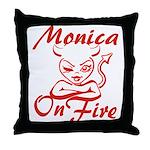 Monica On Fire Throw Pillow