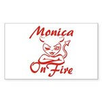 Monica On Fire Sticker (Rectangle)