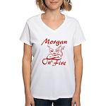 Morgan On Fire Women's V-Neck T-Shirt