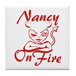 Nancy On Fire Tile Coaster