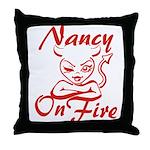 Nancy On Fire Throw Pillow