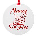Nancy On Fire Round Ornament