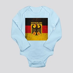 Grunge Germany Flag Long Sleeve Infant Bodysuit