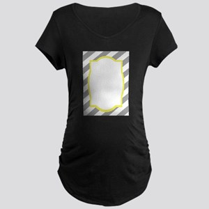 Nautical Grey Stripes Maternity Dark T-Shirt