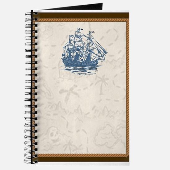 Nautical Vintage Ship Treasure Map Journal