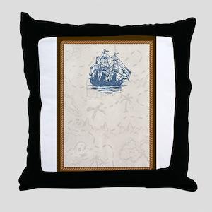 Nautical Vintage Ship Treasure Map Throw Pillow