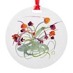 Atom Flowers Round Ornament