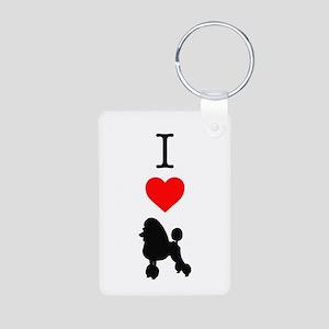 I Love Poodles Aluminum Photo Keychain