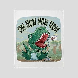 Om Nom Nom T-Rex Throw Blanket