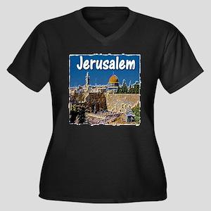 jerusalem Women's Plus Size V-Neck Dark T-Shirt