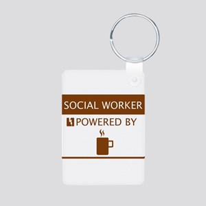 Social Worker Powered by Coffee Aluminum Photo Key