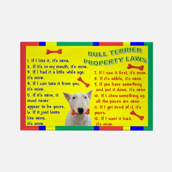 3-Property Laws -BullTerrier,White Magnets