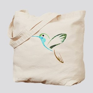 Blue and Green Patchwork Hummingbird Tote Bag