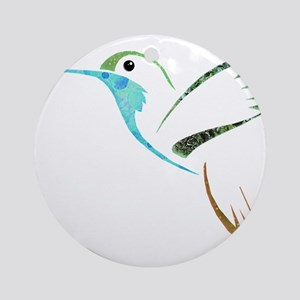 Blue and Green Patchwork Hummingbird Ornament (Rou