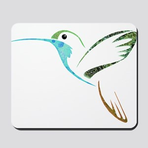 Blue and Green Patchwork Hummingbird Mousepad