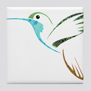 Blue and Green Patchwork Hummingbird Tile Coaster