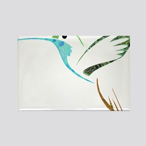 Blue and Green Patchwork Hummingbird Rectangle Mag