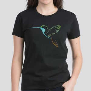 Blue and Green Patchwork Hummingbird Women's Dark