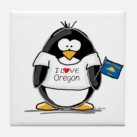 Oregon Penguin Tile Coaster