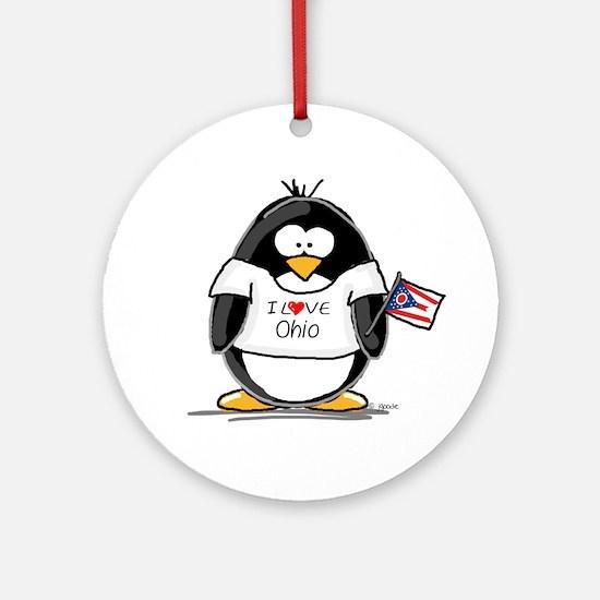 Ohio Penguin Ornament (Round)