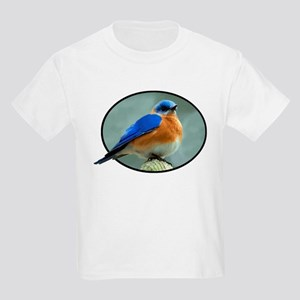 Bluebird in Oval Frame Kids Light T-Shirt