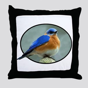 Bluebird in Oval Frame Throw Pillow