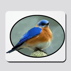 Bluebird in Oval Frame Mousepad