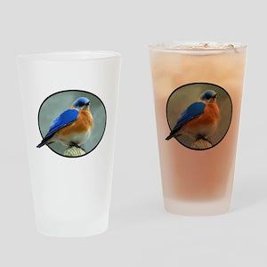 Bluebird in Oval Frame Drinking Glass