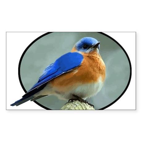 Bluebird in Oval Frame Sticker (Rectangle)
